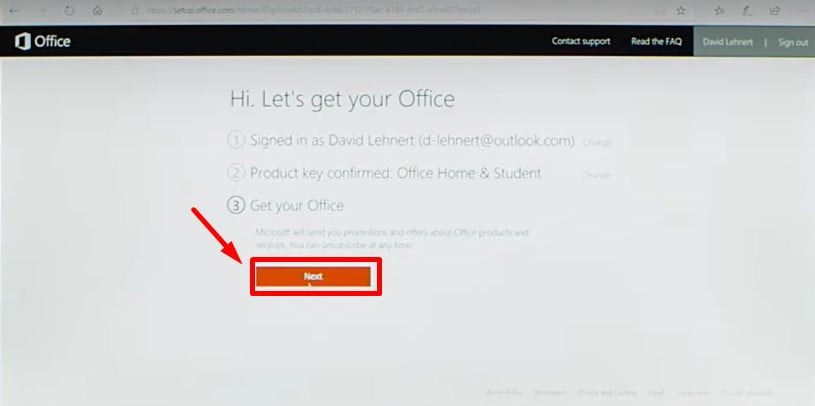 Instructions to install Office 2019 Home Student step 3