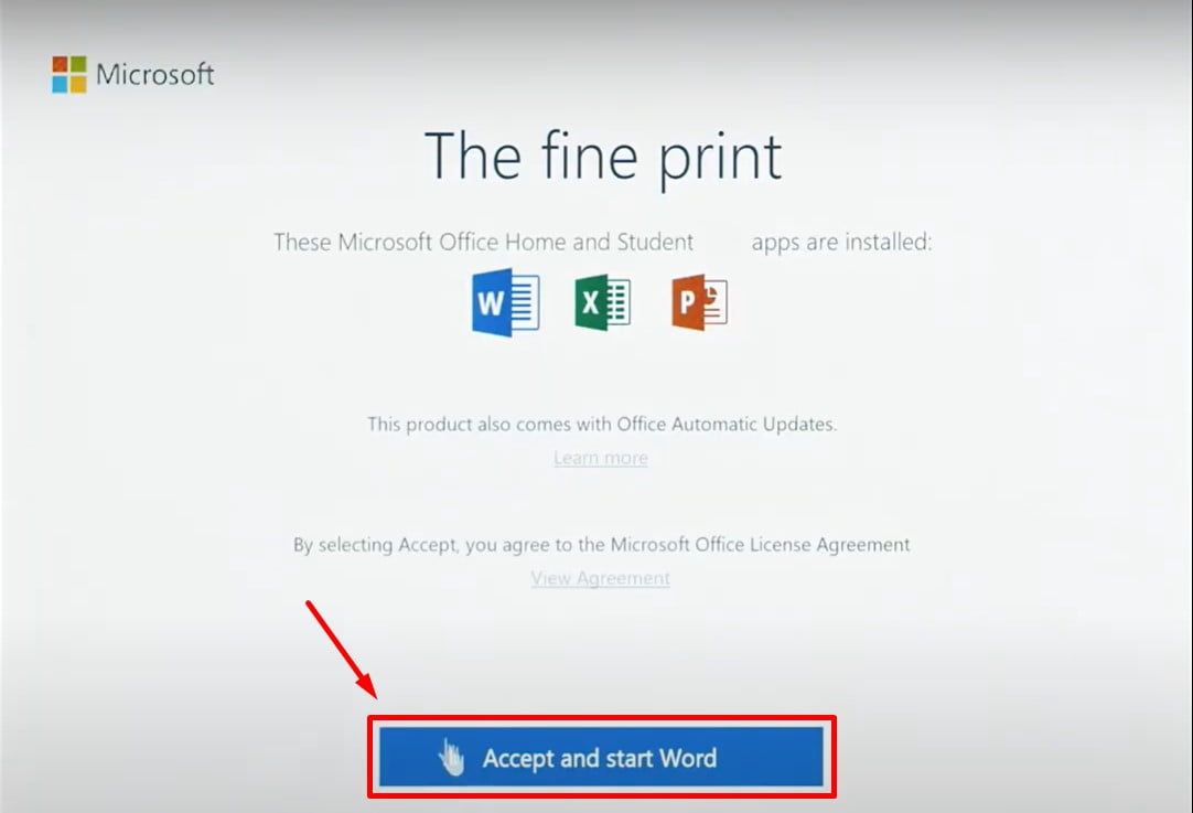 Instructions to install Office 2019 Home Student step 4.4
