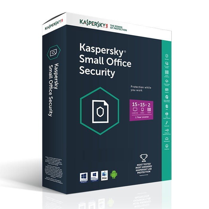 Kaspersky Small Office Security 15 PCs + 15 Mobiles + 2 Servers 1 Year